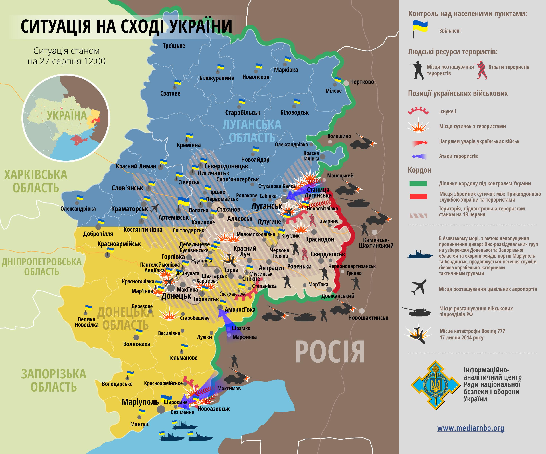 <b>Оперативная обстановка в зоне проведения АТО. Сводка СНБО Украины от 27.08.2014</b>